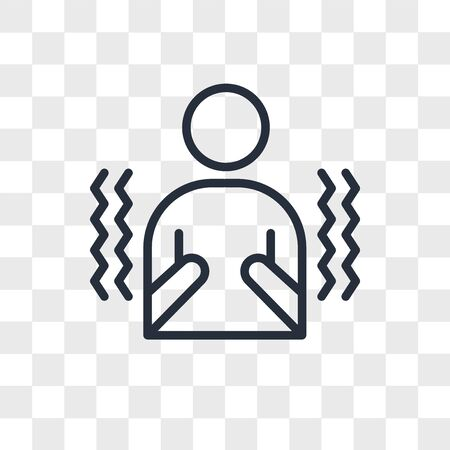 shivering vector icon isolated on transparent background, shivering logo concept
