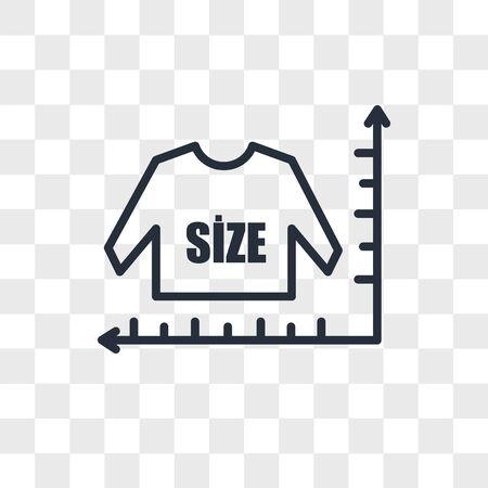 size chart vector icon isolated on transparent background, size chart logo concept Ilustração