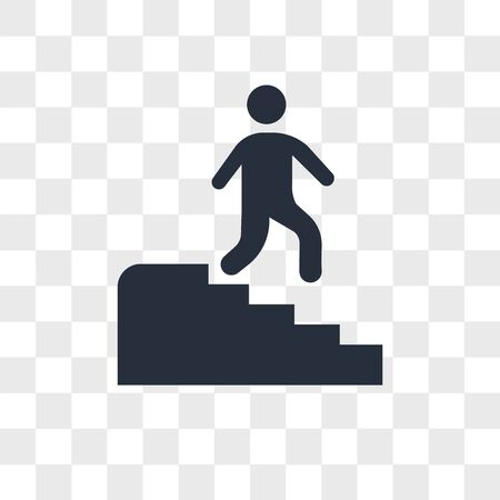Man descending stairs vector icon isolated on transparent background, Man descending stairs logo concept Ilustração