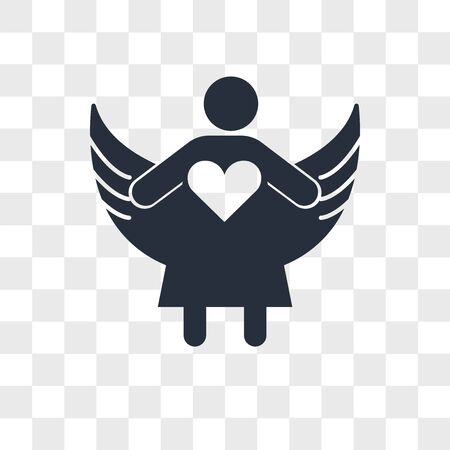 Angel with open arms vector icon isolated on transparent background, Angel with open arms logo concept Ilustração