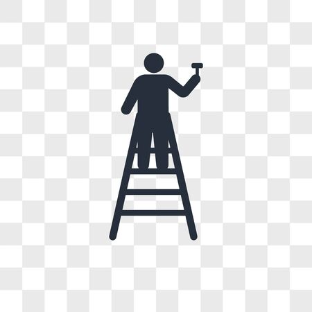 Mechanic ladder vector icon isolated on transparent background, Mechanic ladder logo concept