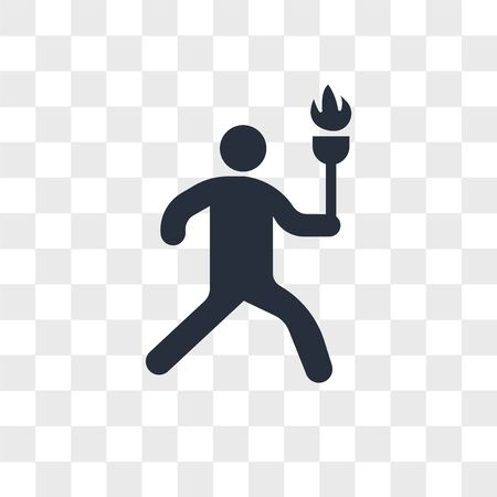 Man running with sport torch vector icon isolated on transparent background, Man running with sport torch logo concept Ilustração