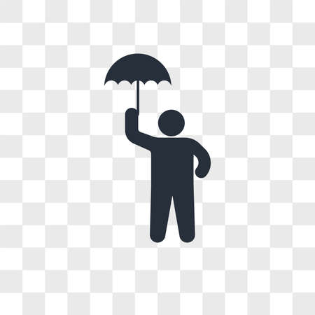 Child with umbrella vector icon isolated on transparent background, Child with umbrella logo concept