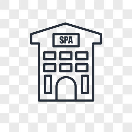 Spa building vector icon isolated on transparent background, Spa building logo concept Ilustração