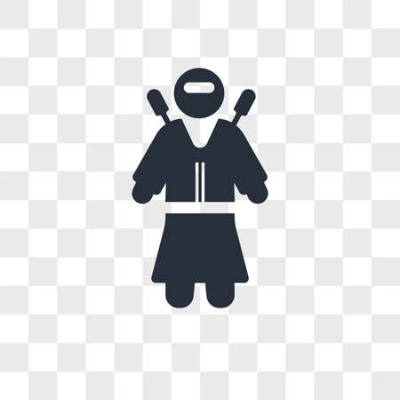 Ninja warrior vector icon isolated on transparent background, Ninja warrior logo concept