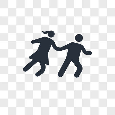 Couple Running vector icon isolated on transparent background, Couple Running logo concept Archivio Fotografico - 150638991
