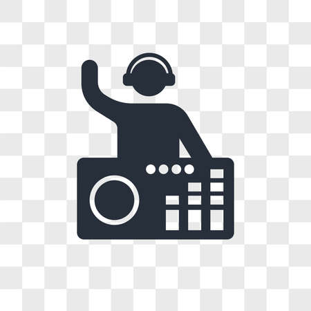 DJ Mixing Music vector icon isolated on transparent background, DJ Mixing Music logo concept Ilustração