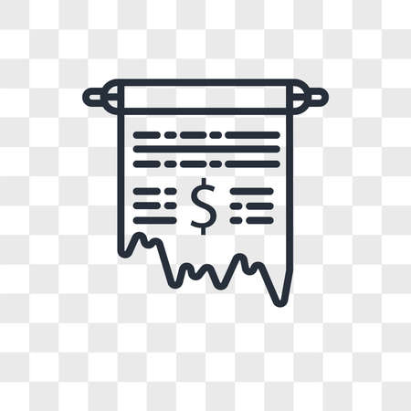 Receipt vector icon isolated on transparent background, Receipt logo concept Vettoriali