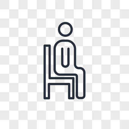 sitting down vector icon isolated on transparent background, sitting down logo concept Vettoriali