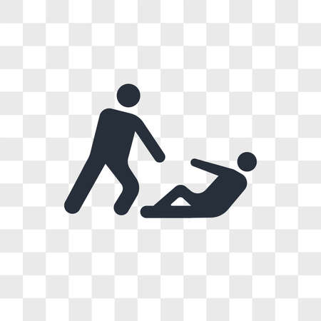 Helping wounded man vector icon isolated on transparent background, Helping wounded man logo concept
