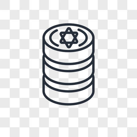 Jewish Coins vector icon isolated on transparent background, Jewish Coins logo concept