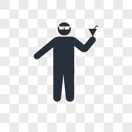 Man with glasses and cocktail in a party vector icon isolated on transparent background, Man with glasses and cocktail in a party logo concept