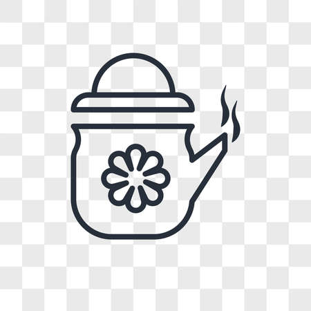 Tea in a teapot vector icon isolated on transparent background, Tea in a teapot logo concept 일러스트