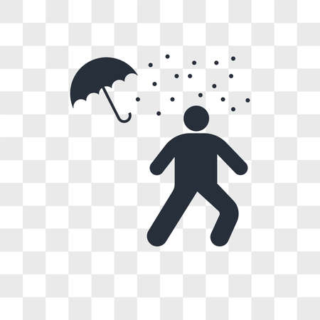 Man under rain loosing umbrella vector icon isolated on transparent background, Man under rain loosing umbrella logo concept