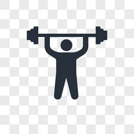 Man doing exercises vector icon isolated on transparent background, Man doing exercises logo concept Vettoriali