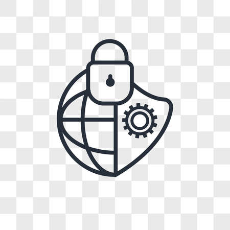 cybersecurity vector icon isolated on transparent background, cybersecurity logo concept
