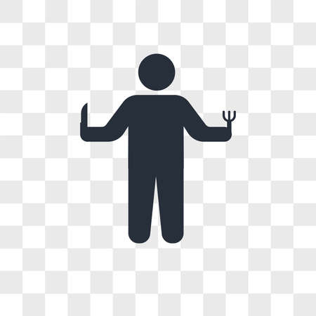 Person hunger vector icon isolated on transparent background, Person hunger logo concept