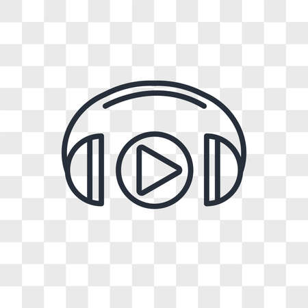 Headphones vector icon isolated on transparent background, Headphones logo concept Vettoriali