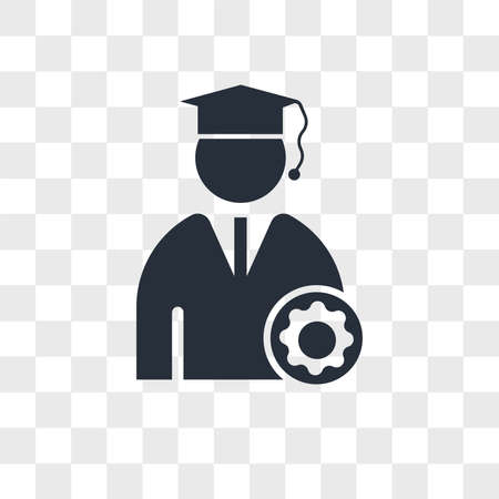 Graduate Student vector icon isolated on transparent background, Graduate Student logo concept
