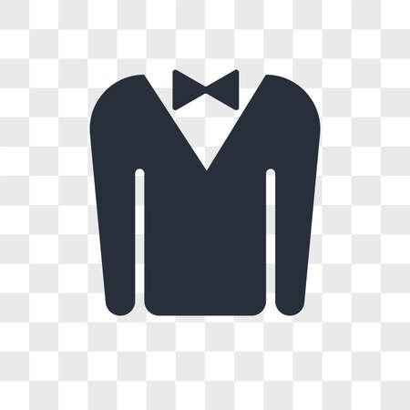 Tuxedo vector icon isolated on transparent background, Tuxedo logo concept Vettoriali
