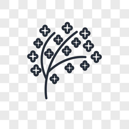 tree twigs with leaf vector icon isolated on transparent background, tree twigs with leaf logo concept Vettoriali