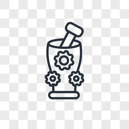 Mortar with flowers vector icon isolated on transparent background, Mortar with flowers logo concept