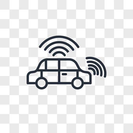 autonomous vehicle vector icon isolated on transparent background, autonomous vehicle logo concept