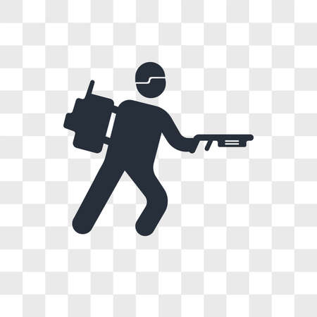 Army soldier walking vector icon isolated on transparent background, Army soldier walking logo concept