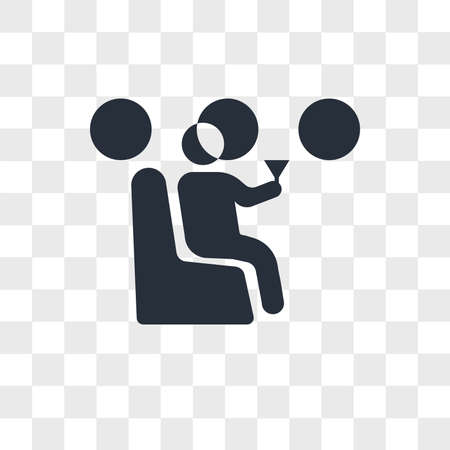 Man drinking on the plane vector icon isolated on transparent background, Man drinking on the plane logo concept Vectores