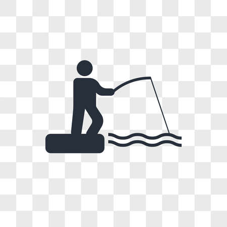 Fishing rod and fisher vector icon isolated on transparent background, Fishing rod and fisher logo concept Çizim