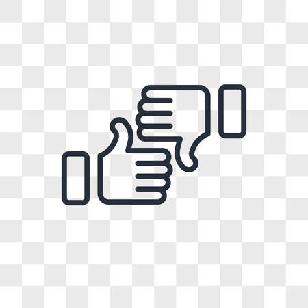 Thumbs up vector icon isolated on transparent background, Thumbs up logo concept Çizim