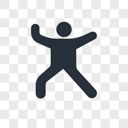 Person dance music vector icon isolated on transparent background, Person dance music logo concept