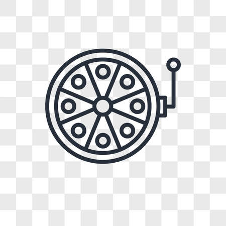 Fishing reel vector icon isolated on transparent background, Fishing reel logo concept
