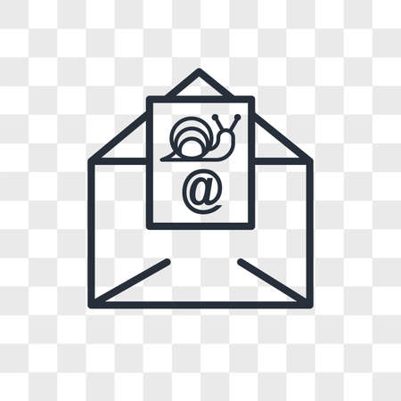 snail mail vector icon isolated on transparent background, snail mail logo concept
