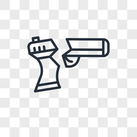 broken gun vector icon isolated on transparent background, broken gun logo concept