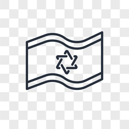 Israel Flag vector icon isolated on transparent background, Israel Flag logo concept