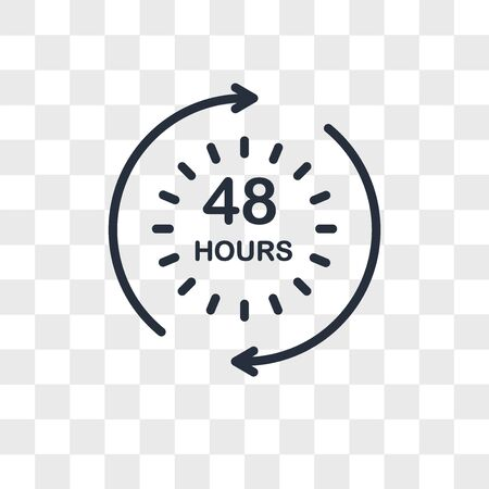 48 hours vector icon isolated on transparent background, 48 hours logo concept