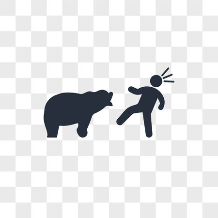 Bear attacking vector icon isolated on transparent background, Bear attacking logo concept Stock Illustratie