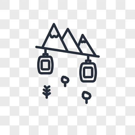 Cable car cabin vector icon isolated on transparent background, Cable car cabin logo concept