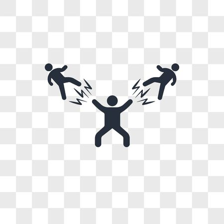 Man Beating two fighters vector icon isolated on transparent background, Man Beating two fighters logo concept