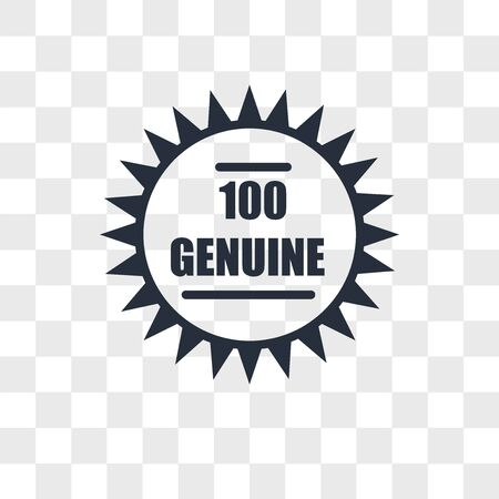 100 genuine vector icon isolated on transparent background, 100 genuine logo concept