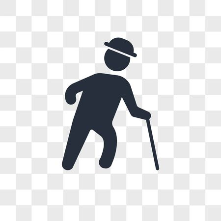 Old man with hat walking with cane vector icon isolated on transparent background, Old man with hat walking with cane logo concept
