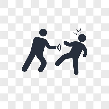 Punching someone vector icon isolated on transparent background, Punching someone logo concept Vettoriali