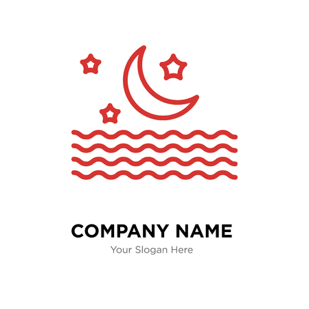 Moon company logo design template, Moon logotype vector icon, business corporative Illustration