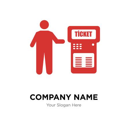 Modello di progettazione di logo di società di biglietteria automatica, icona di vettore di logotipo di macchina di biglietto, corporativo di affari Logo