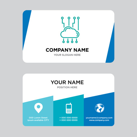 Cloud network business card design template, Visiting for your company, Modern Creative and Clean identity Card Vector Illustration