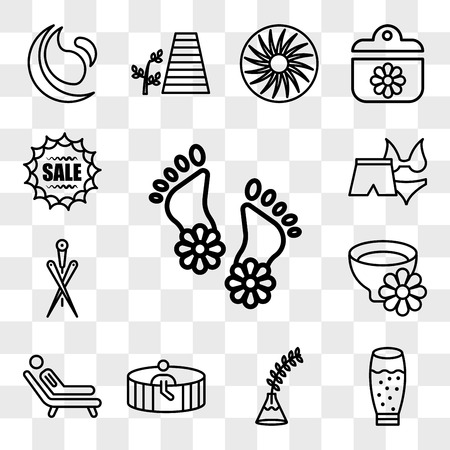 Set Of 13 transparent icons such as Flowers on human feet, glass with juice, Fern plant vase, Person in spa sauna, Man lying a deck chair of spa, web ui editable icon pack, transparency Illustration