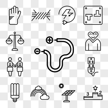 Set Of 13 transparent editable icons such as Wire, Podium, Solar panel, Rainbow, Light bulb, Socket, Deal, Love, Balance, web ui icon pack, transparency set Иллюстрация