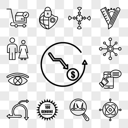 Set Of 13 transparent editable icons such as cheaper, gyroscope, hair loss, 100 genuine, agile, self help, censorship, multichannel, family law, web ui icon pack, transparency set