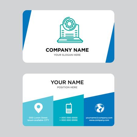 Plantilla de diseño de tarjeta de visita de computadora portátil, visitando para su empresa, ilustración de Vector de tarjeta de identidad limpia y creativa moderna